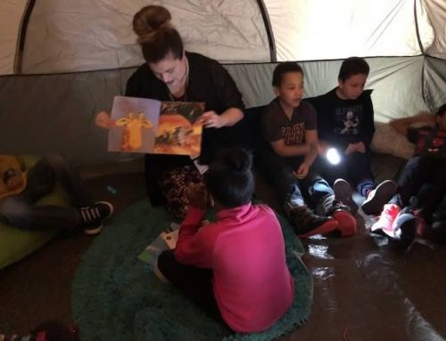 MTS Elementary students story time under the stars